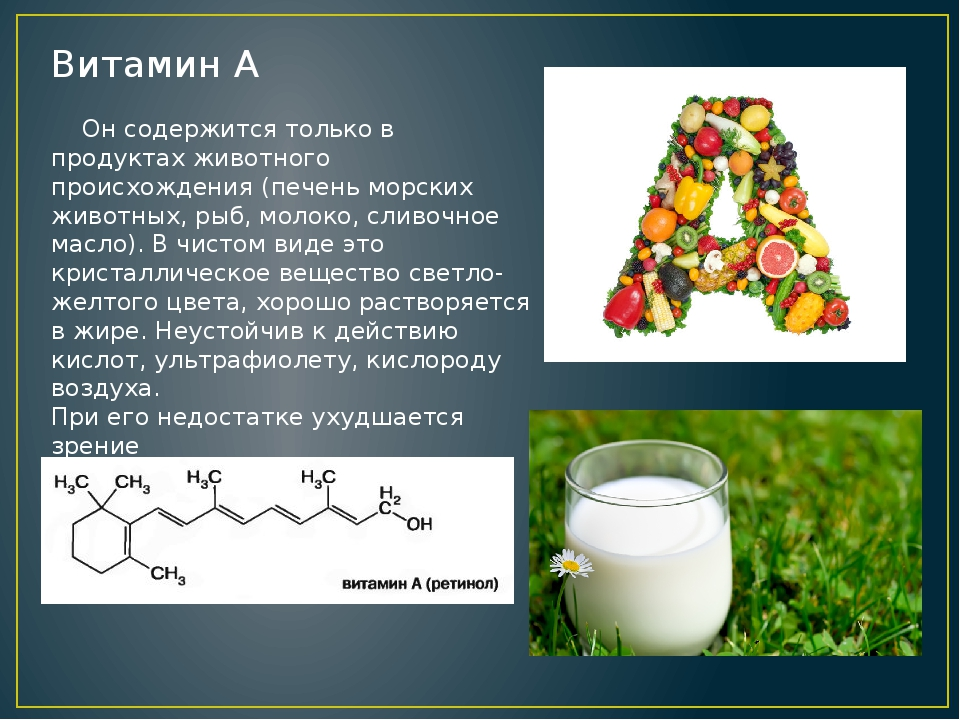 Витамин А Он содержится только в продуктах животного происхождения (печень мо...