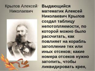 Крылов Алексей Николаевич Выдающийся математик Алексей Николаевич Крылов созд