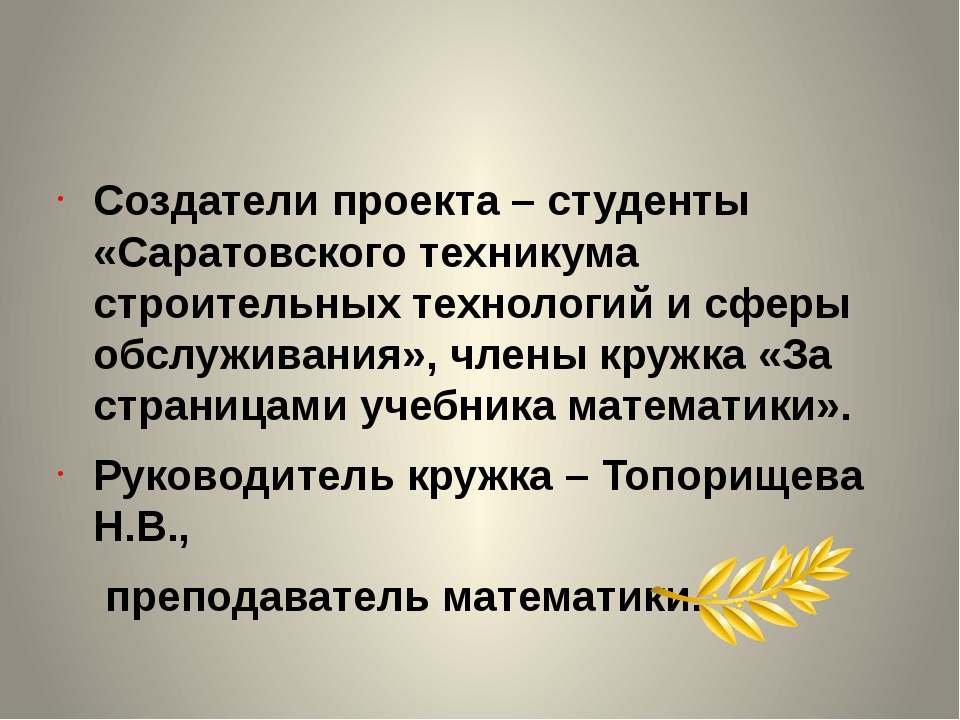 Создатели проекта – студенты «Саратовского техникума строительных технологий...