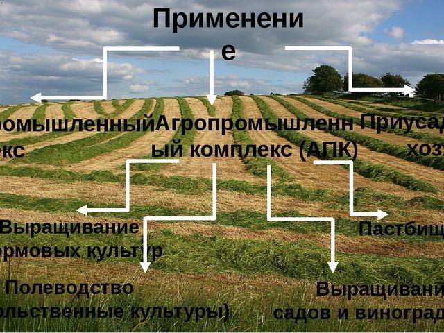 Применение Агропромышленный комплекс (АПК) Лесопромышленный комплекс Приусаде...