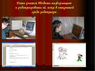 Дети учатся вводить информацию и редактировать её, пока в открытой среде реда