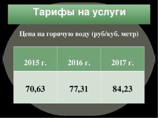 Тарифы на услуги Цена на горячую воду (руб/куб. метр) 2015г. 2016 г. 2017 г.