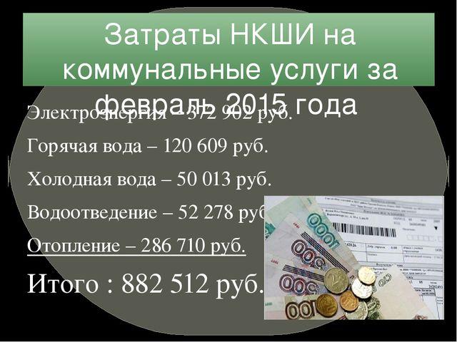 Затраты НКШИ на коммунальные услуги за февраль 2015 года Электроэнергия – 372...