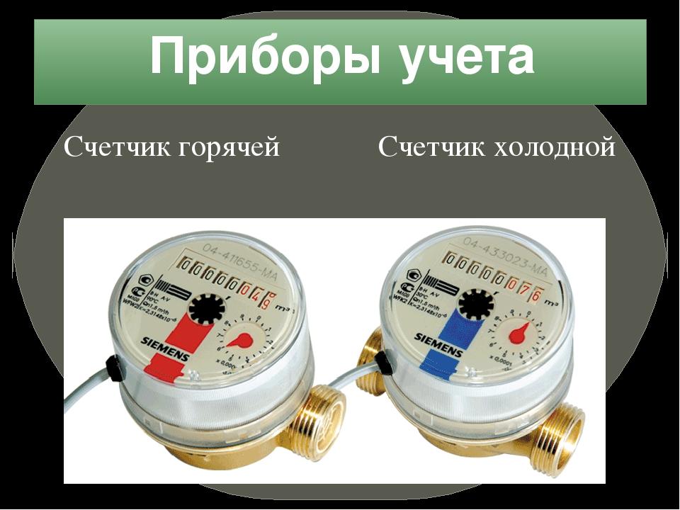 Приборы учета Счетчик горячей Счетчик холодной воды воды