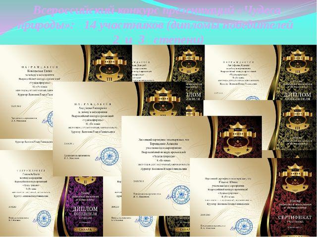 Всероссийский конкурс презентаций «Чудеса природы»: 14 участников (дипломы по...