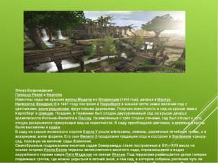 Эпоха Возрождения Палаццо РеалевНеаполе Известны сады на крышахвиллы Медич