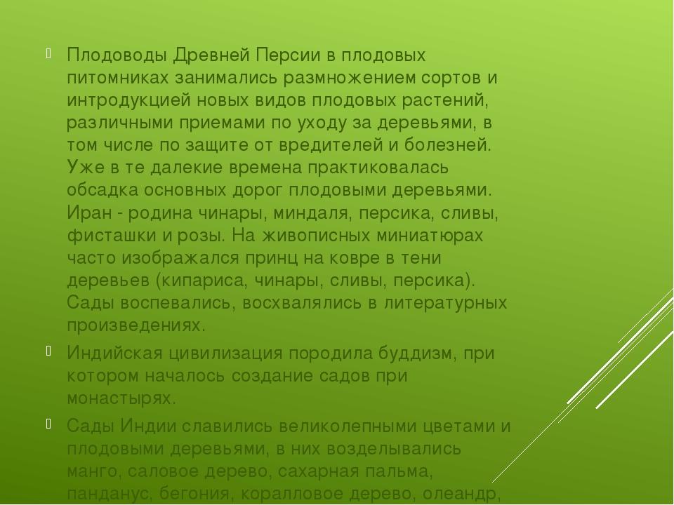Плодоводы Древней Персии в плодовых питомниках занимались размножением сорто...