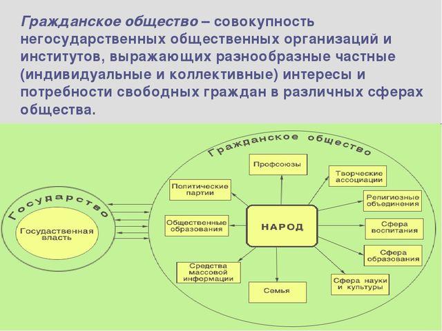 Гражданское общество – совокупность негосударственных общественных организаци...
