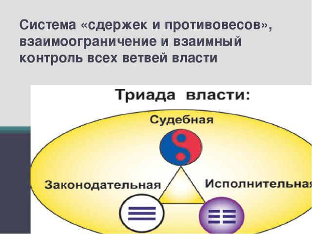 Система «сдержек и противовесов», взаимоограничение и взаимный контроль всех...