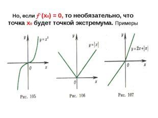 Но, если f' (х0) = 0, то необязательно, что точка х0 будет точкой экстремума