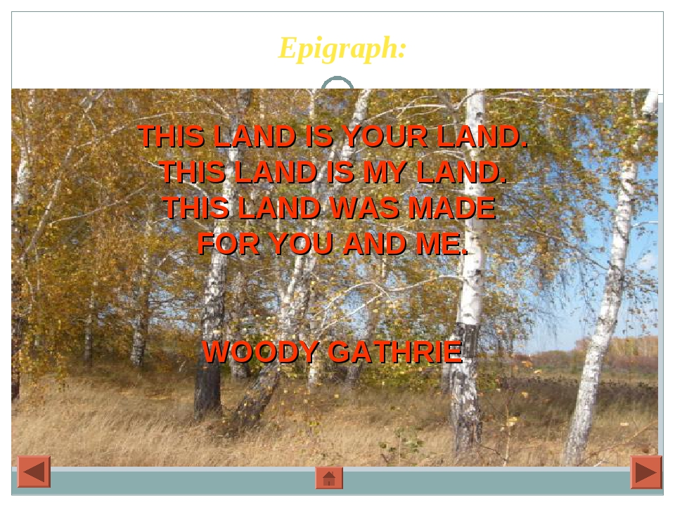 Epigraph: THIS LAND IS YOUR LAND. THIS LAND IS MY LAND. THIS LAND WAS MADE FO...