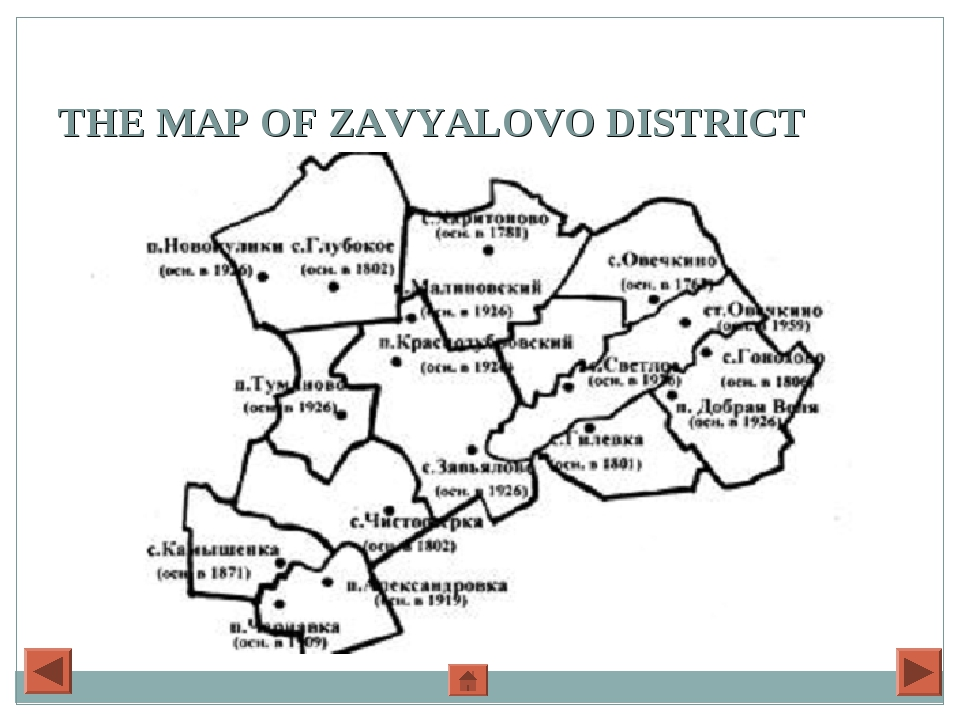 THE MAP OF ZAVYALOVO DISTRICT