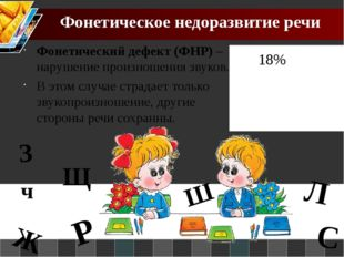 Фонетическое недоразвитие речи Фонетический дефект (ФНР) – нарушение произнош