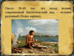 Около 30-40 тыс. лет назад возник современный биологический вид – человек раз