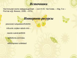 Источники pravoved.ru/question/518294 Интернет-ресурсы infourok.ru/plan-rabot