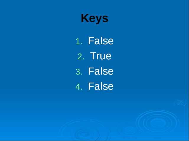 Keys False True False False