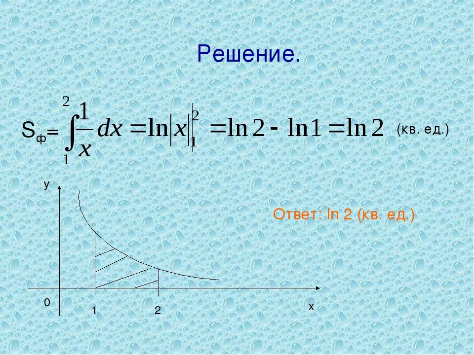 Решение. 1 2 0 х у Ответ: ln 2 (кв. ед.)