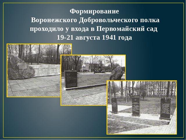 Формирование Воронежского Добровольческого полка проходило у входа в Первомай...