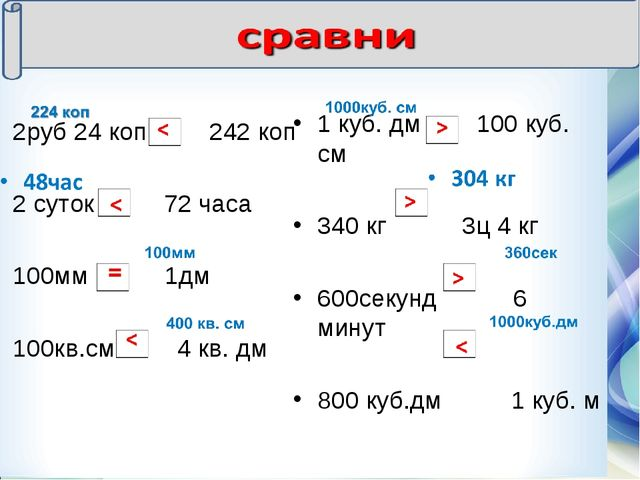 2руб 24 коп 242 коп 2 суток 72 часа 100мм 1дм 100кв.см 4 кв. дм 1 куб. дм 100...