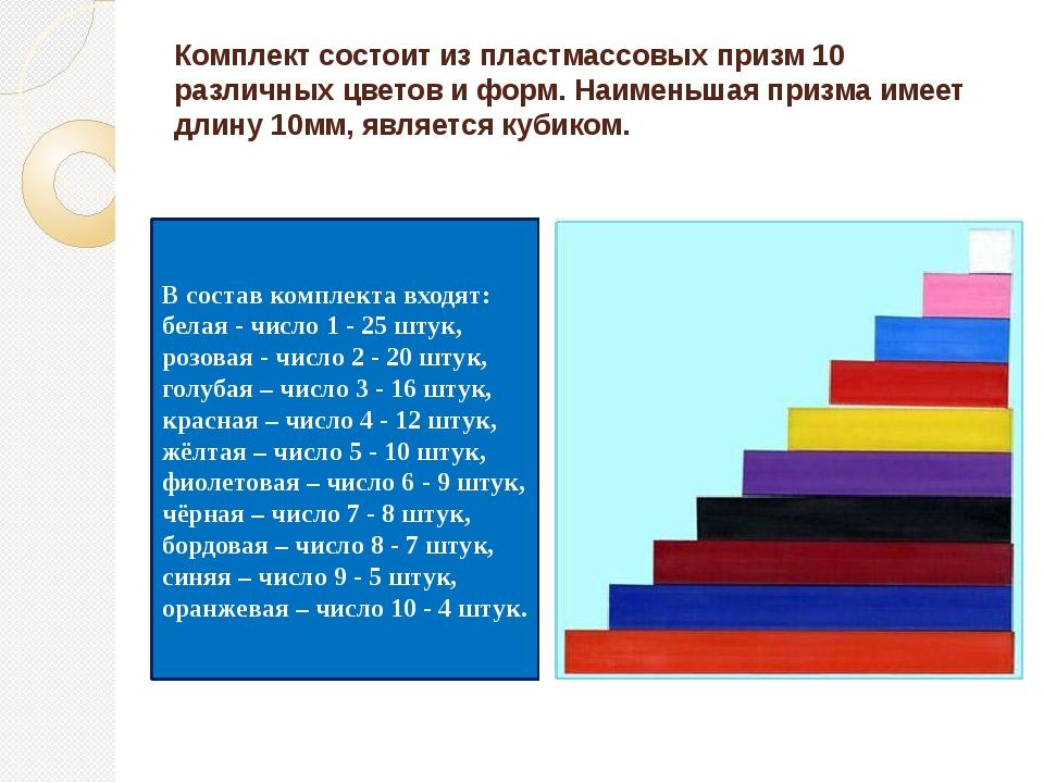Комплект состоит из пластмассовых призм 10 различных цветов и форм. Наименьша...