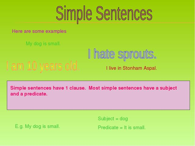 Here are some examples My dog is small. I live in Stonham Aspal. Simple sente...