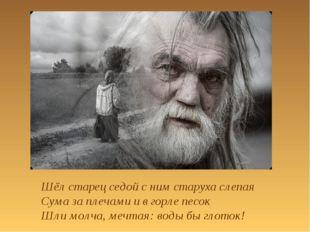 Шёл старец седой с ним старуха слепая Сума за плечами и в горле песок Шли мол
