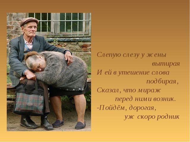 Слепую слезу у жены вытирая И ей в утешение слова подбирая, Сказал, что мираж...