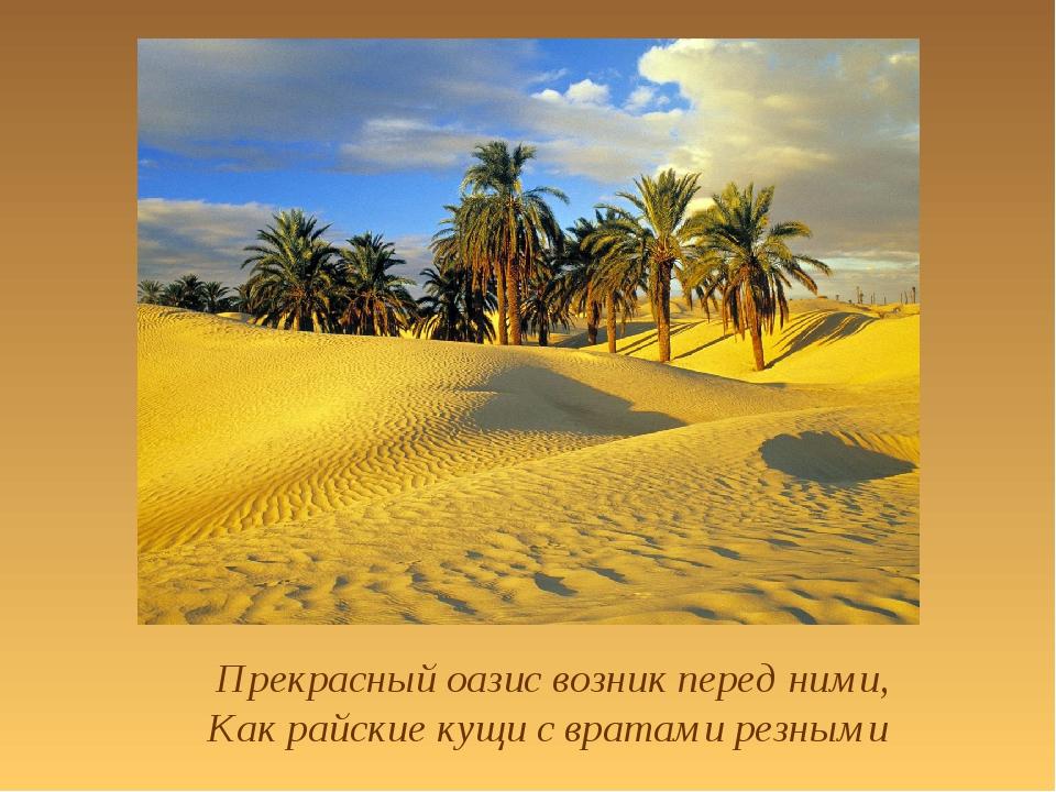 Прекрасный оазис возник перед ними, Как райские кущи с вратами резными