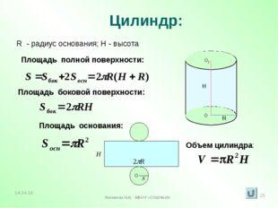 Цилиндр: R - радиус основания; H - высота Площадь полной поверхности: Площадь
