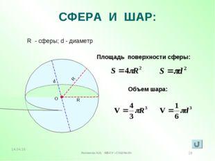 СФЕРА И ШАР: R - сферы; d - диаметр Площадь поверхности сферы: Объем шара: R