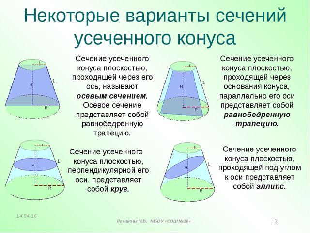 Некоторые варианты сечений усеченного конуса Н L R Н L R Сечение усеченного к...