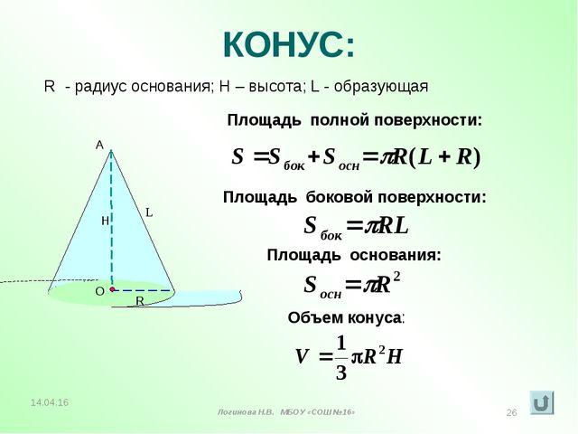 КОНУС: R - радиус основания; Н – высота; L - образующая L Площадь полной пове...