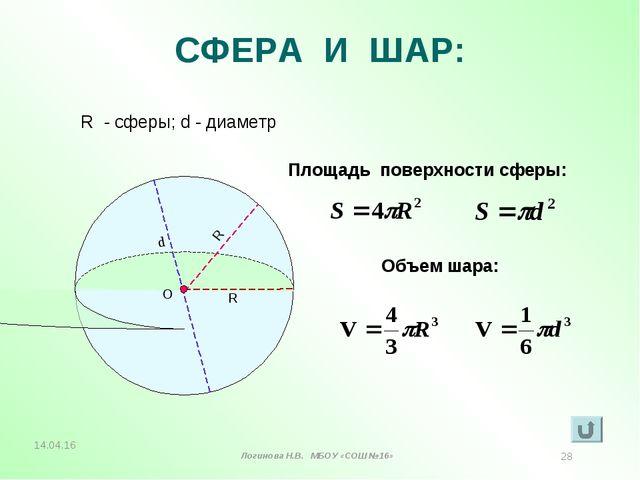 СФЕРА И ШАР: R - сферы; d - диаметр Площадь поверхности сферы: Объем шара: R...