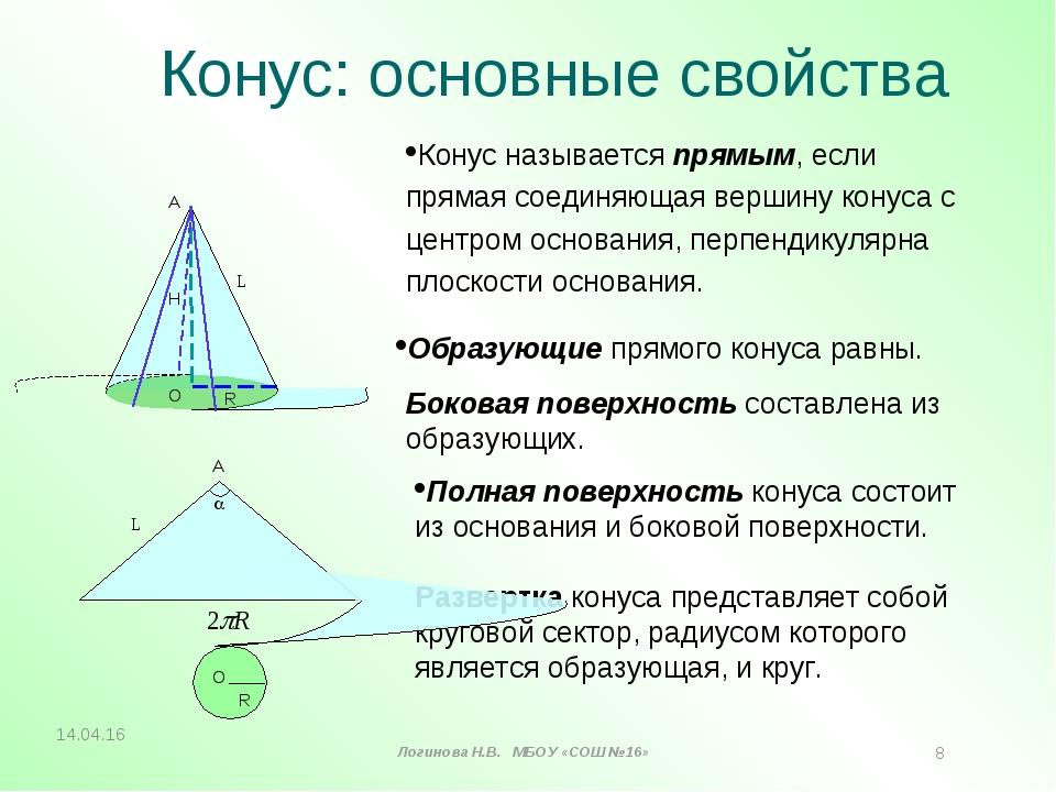 Конус: основные свойства Полная поверхность конуса состоит из основания и бок...