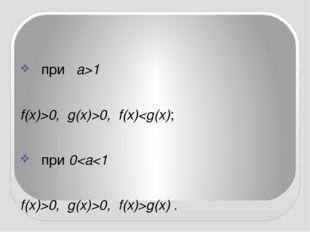 при a>1 f(x)>0, g(x)>0, f(x)g(x) .