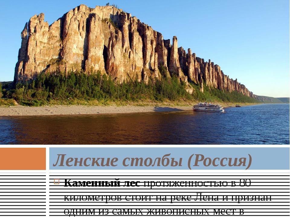 Каменный леспротяженностью в 80 километров стоит на реке Лена и признан одни...