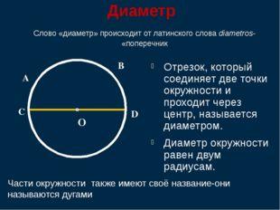 Диаметр Отрезок, который соединяет две точки окружности и проходит через цен