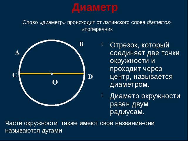 Диаметр Отрезок, который соединяет две точки окружности и проходит через цен...