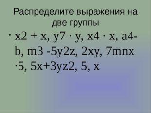 Распределите выражения на две группы x2 + x, y7 ∙ y, x4 ∙ x, a4-b, m3 -5y2z,