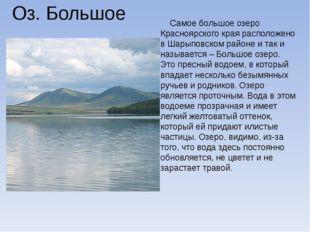 Оз. Большое Самое большое озеро Красноярского края расположено в Шарыповском