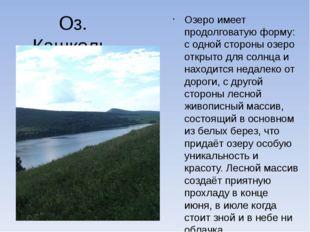 Оз. Кашколь Озеро имеет продолговатую форму: с одной стороны озеро открыто дл