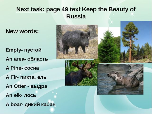 Next task: page 49 text Keep the Beauty of Russia New words: Empty- пустой An...