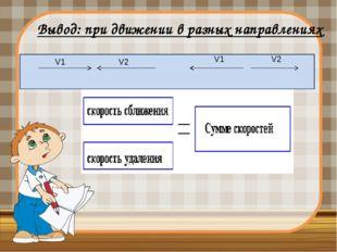 Вывод: при движении в разных направлениях  V1 V2 V1 V2