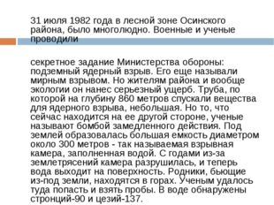 31 июля 1982 года в лесной зоне Осинского района, было многолюдно. Военные и