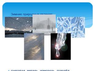 Зимние природные явления  снегопад, метель ,изморозь, гололёд, оттепель