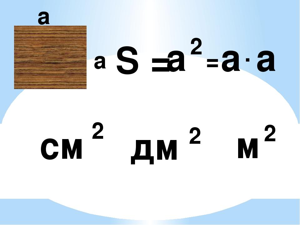 а а S = а а а 2 = . см 2 м 2 дм 2