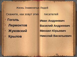 Жизнь Знаменитых Людей Скажите, как зовут этих писателей Иван Андреевич Васил