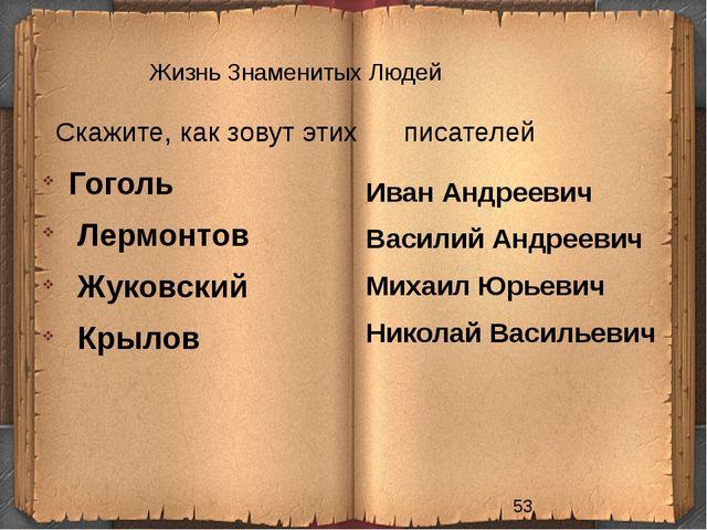 Жизнь Знаменитых Людей Скажите, как зовут этих писателей Иван Андреевич Васил...