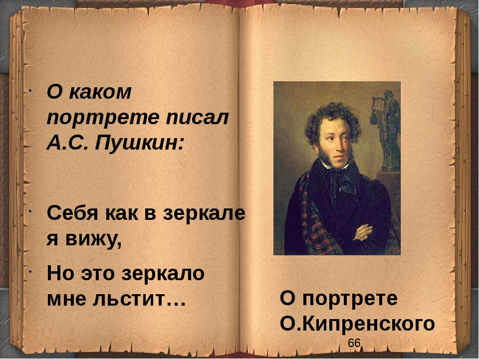 О портрете О.Кипренского О каком портрете писал А.С. Пушкин: Себя как в зерк...