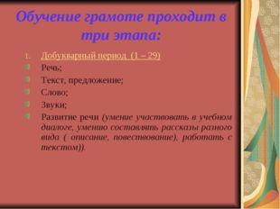 Обучение грамоте проходит в три этапа: Добукварный период (1 – 29) Речь; Текс